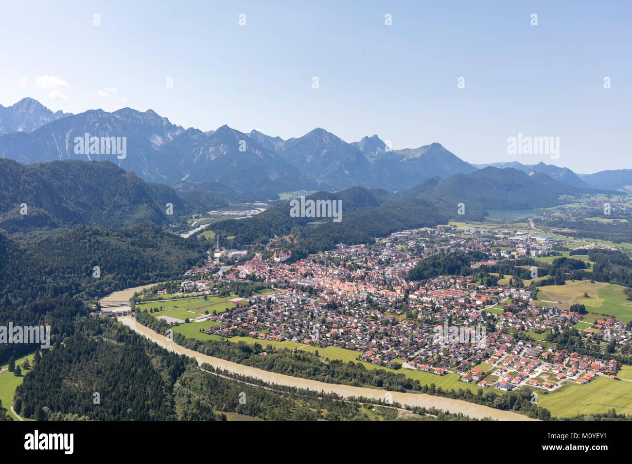 aerial view of Hohenschwangau, Bavaria, Germany Stock Photo