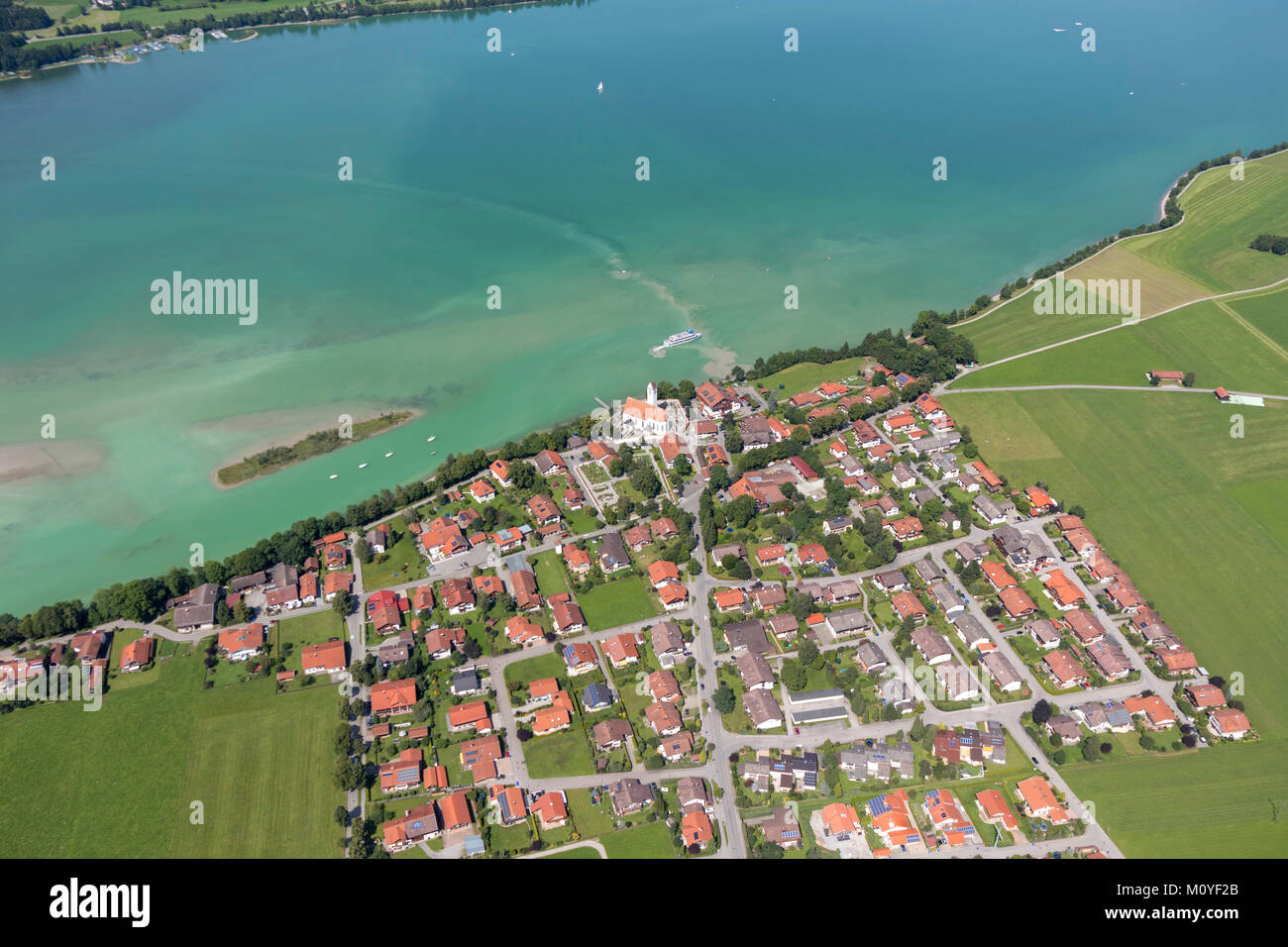 Aerial view of Waltenhofen, 87645 Schwangau, Bavaria, Germany - Stock Image