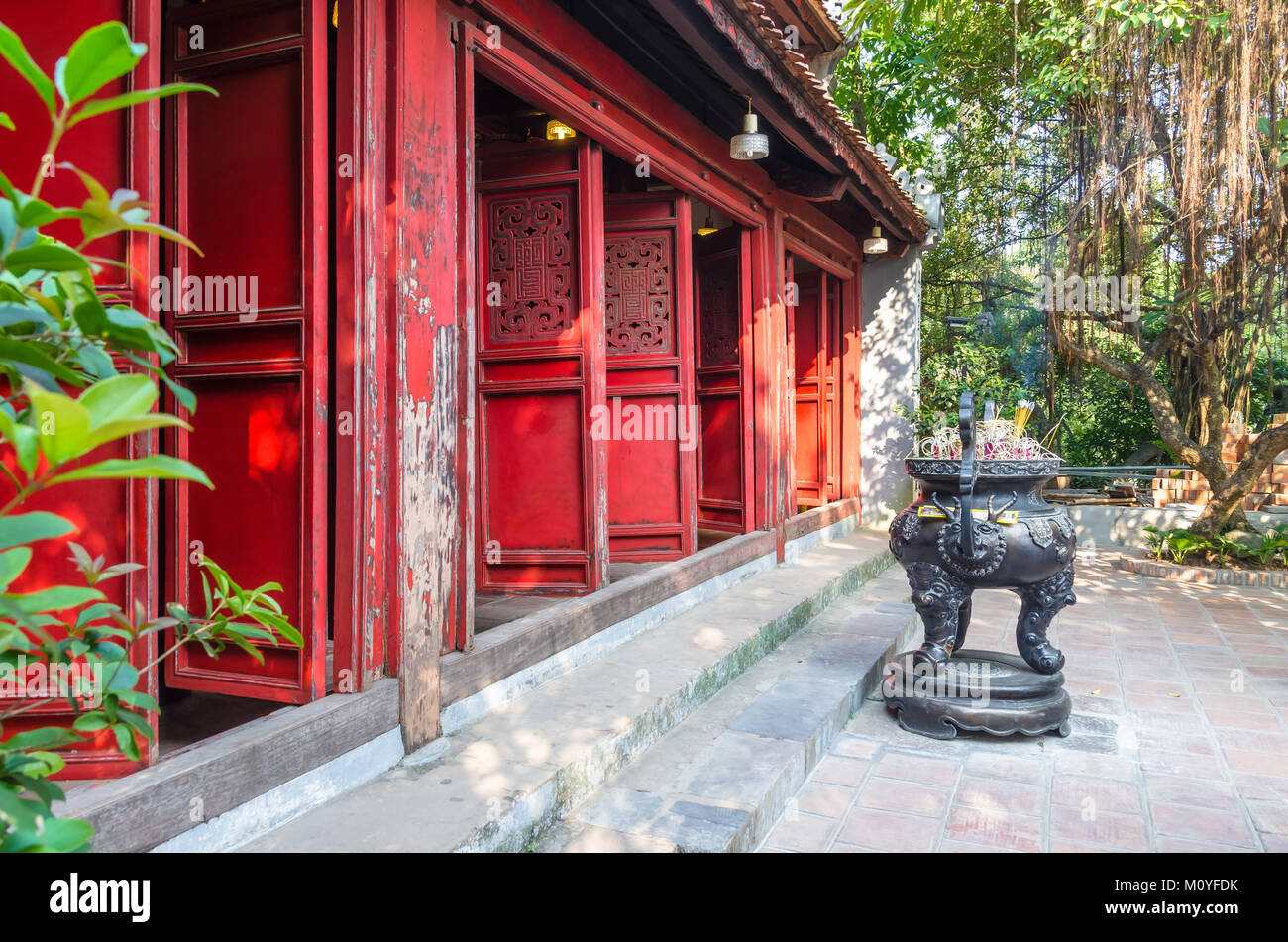 Hanoi,Vietnam - November 2,2017 : Exterior view of Ngoc Son Temple it known as 'The Temple of the Jade Mountain' - Stock Image