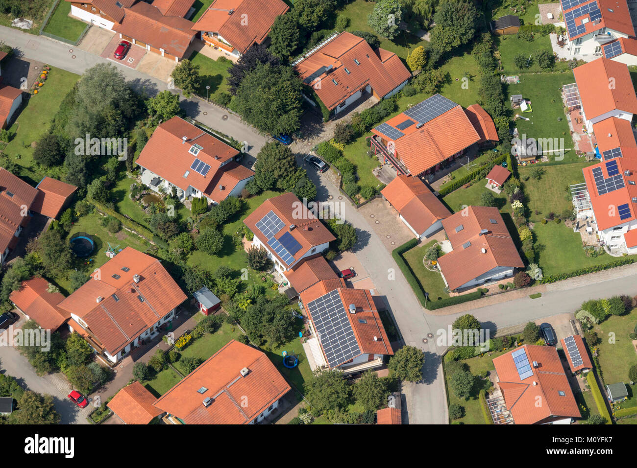 Aerial view of houses with solar panels, Calvistraße, 86971 Peiting, Bavaria, Germany - Stock Image