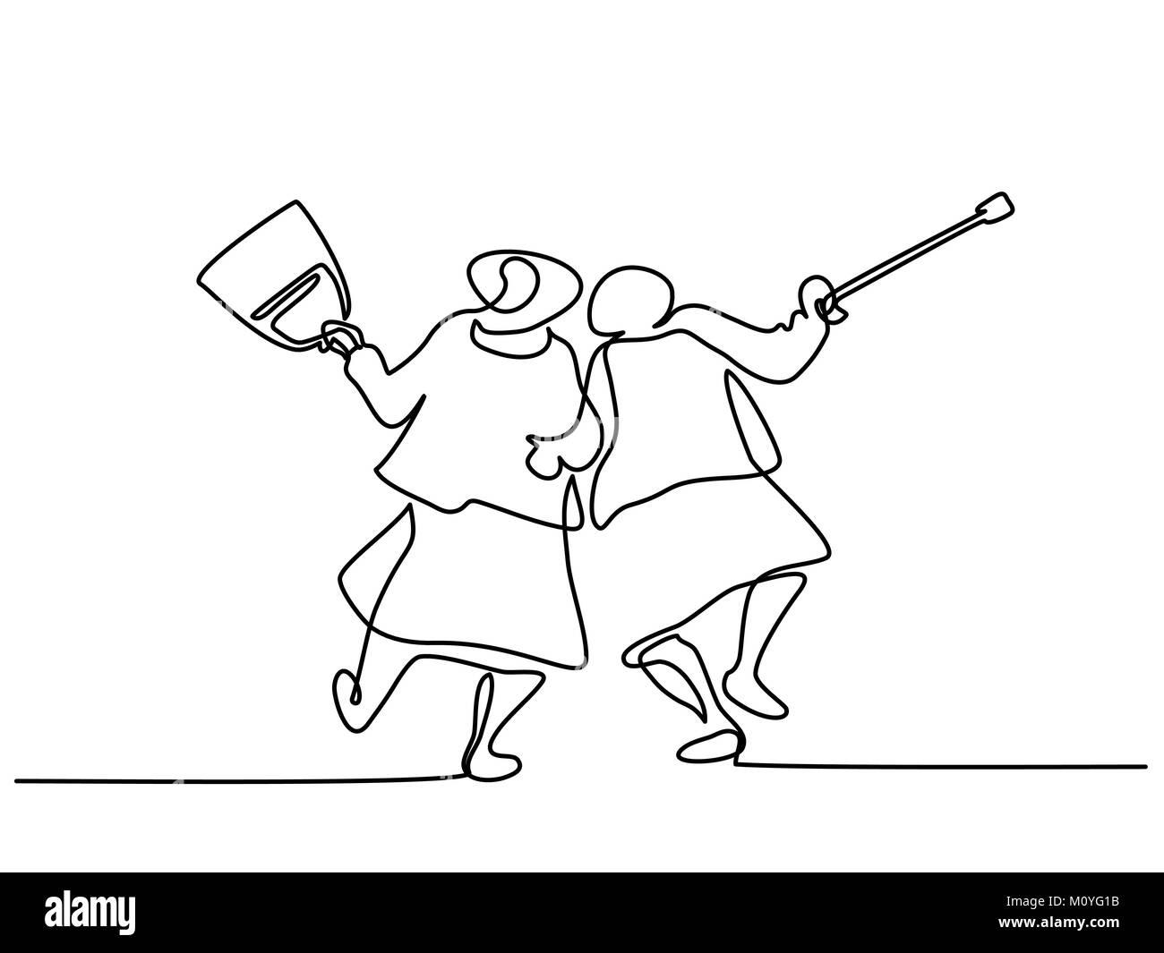 Elderly women friends walking Stock Vector