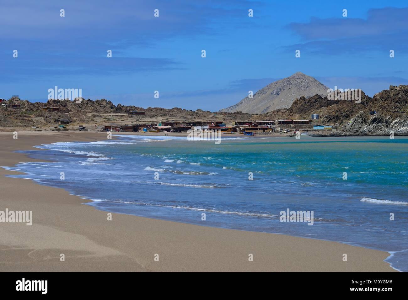 Fishing village Caleta Pan de Azúcar,Pan de Azúcar National Park,near Chañaral,Región de Atacama,Chile - Stock Image