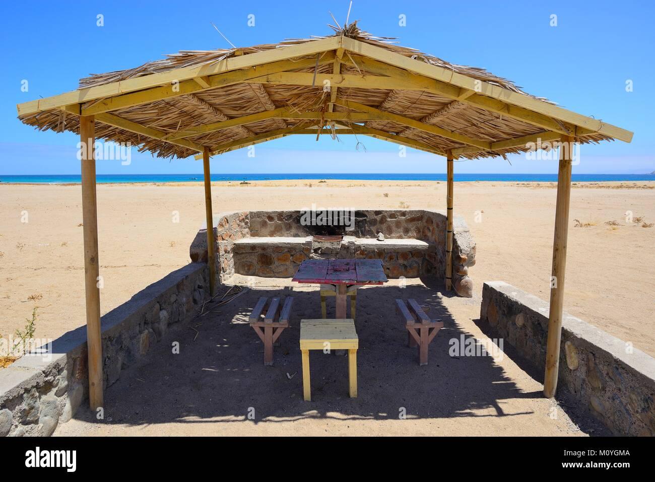 Roofed picnic area on the beach,Pan de Azúcar National Park,near Chañaral,Región de Atacama,Chile - Stock Image