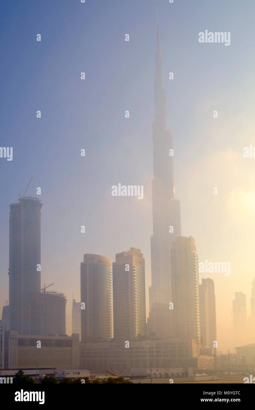 Skyline of central Dubai showing the Burj Khalifa - the world's tallest building - Stock Image