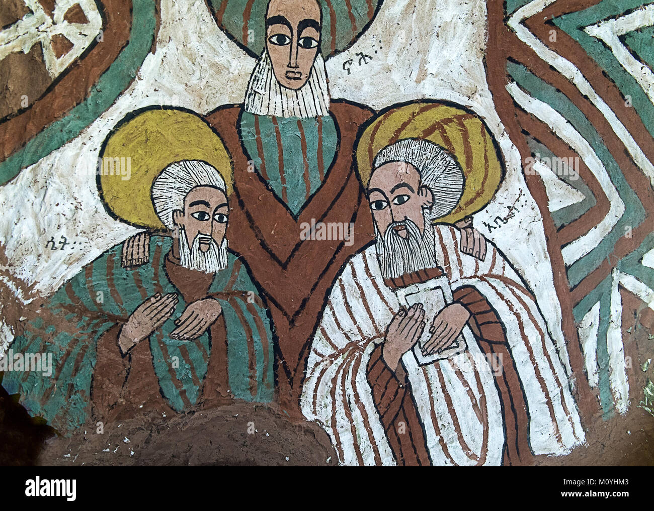 The biblical figures of Seth,Noah and Abel,fresco in the Orthodox rock church of Abuna Yemata Guh,Gheralta Region,Tigray - Stock Image