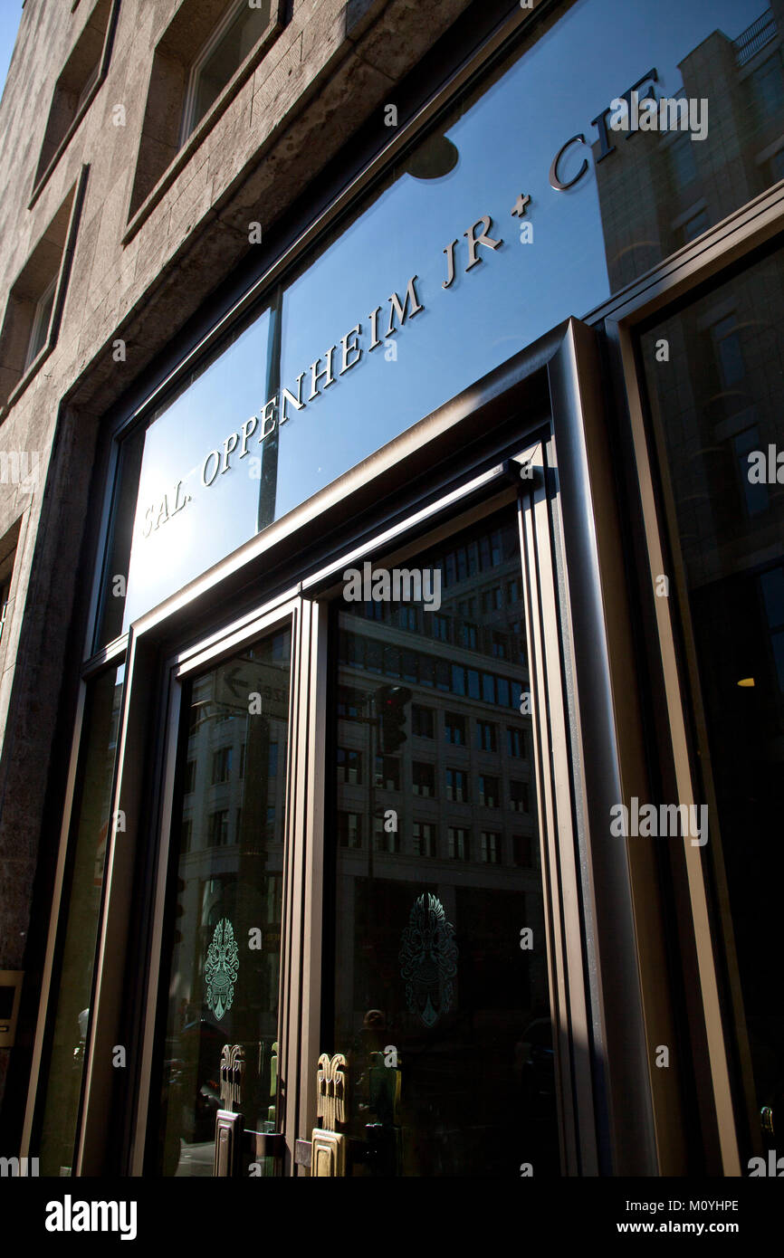 Germany, Cologne, entrance of the asset management bank Sal. Oppenheim in the financial district.   Deutschland, - Stock Image
