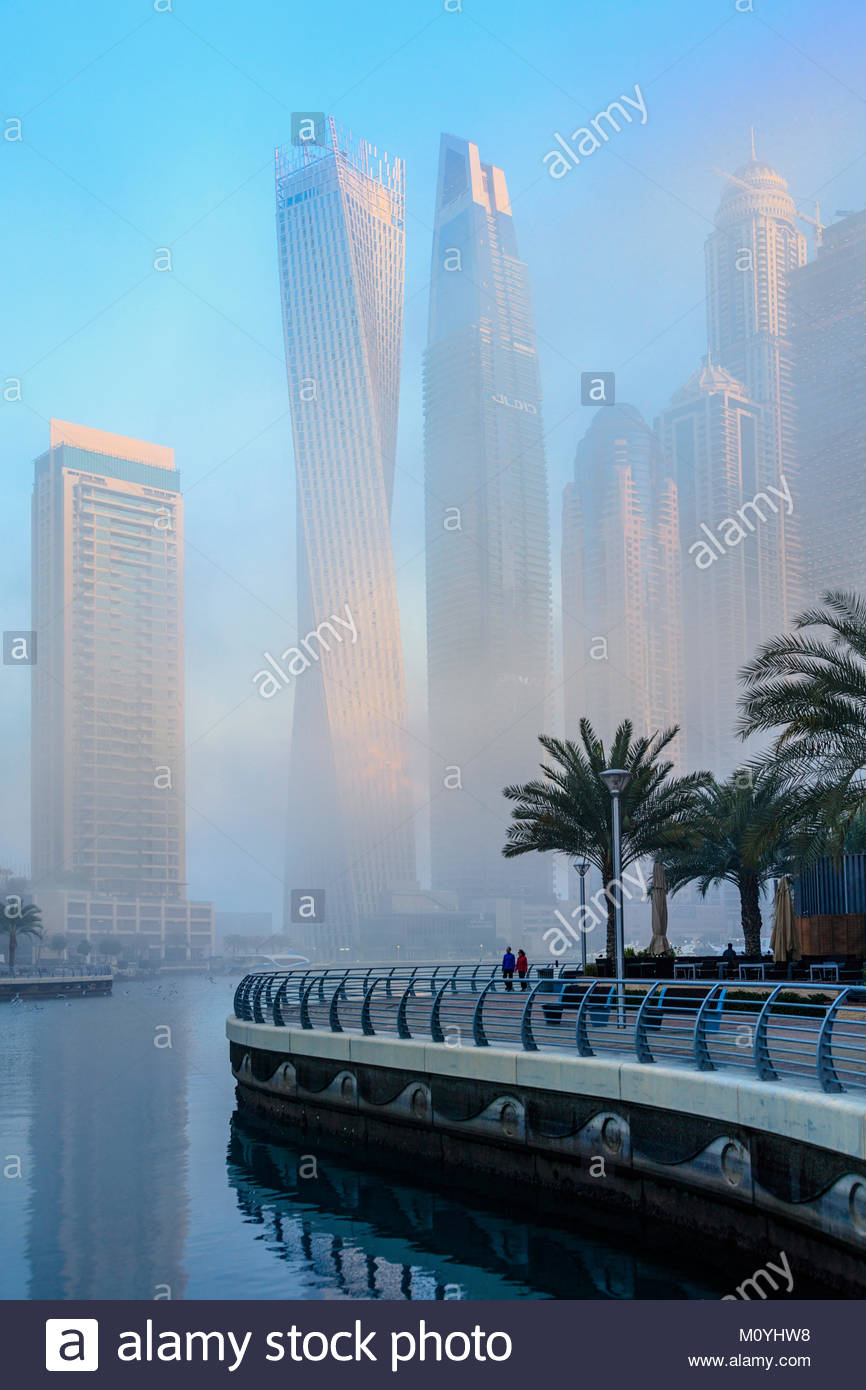 View of skyscrapers in the affluent Dubai Marina area of the city - Stock Image
