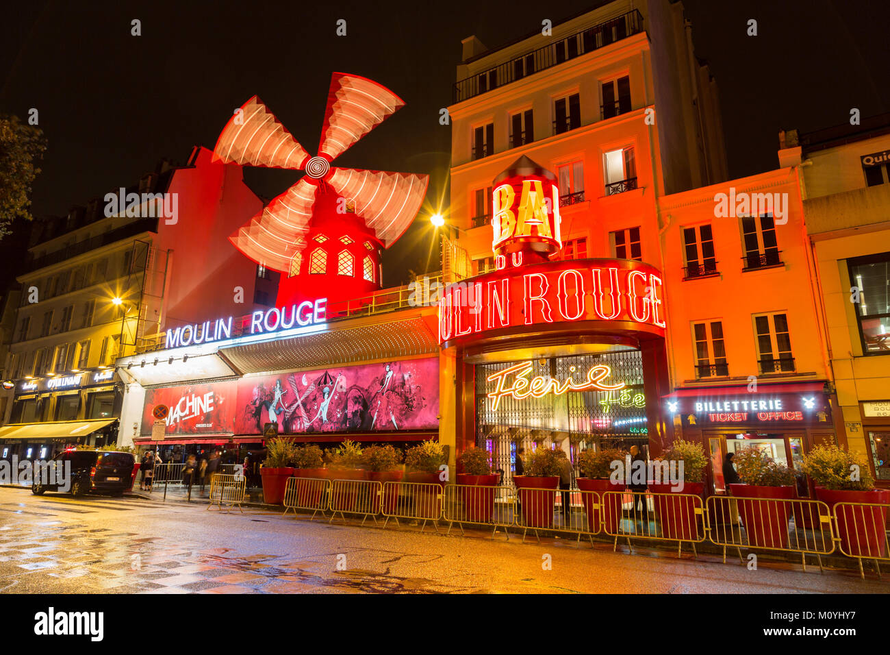Variety Theatre Moulin Rouge by night,Montmartre,Paris,France - Stock Image