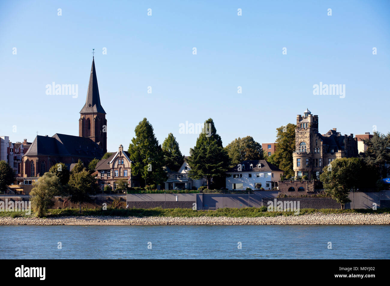 Germany, Cologne, view to the district Rodenkirchen with the church St. Maternus and the Villa Malta.  Deutschland, - Stock Image