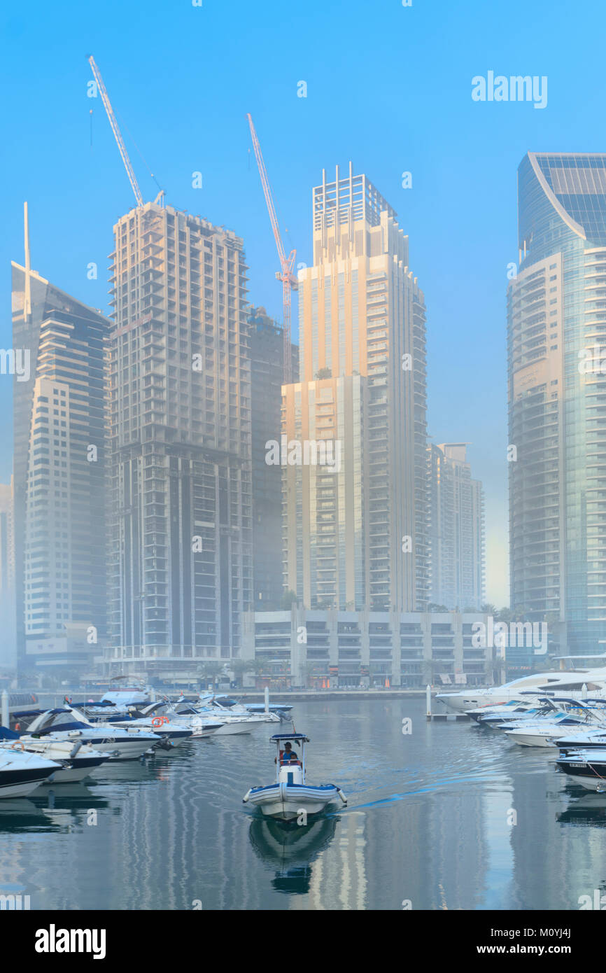 View of skyscrapers in the affluent Dubai Marina area of the city Stock Photo