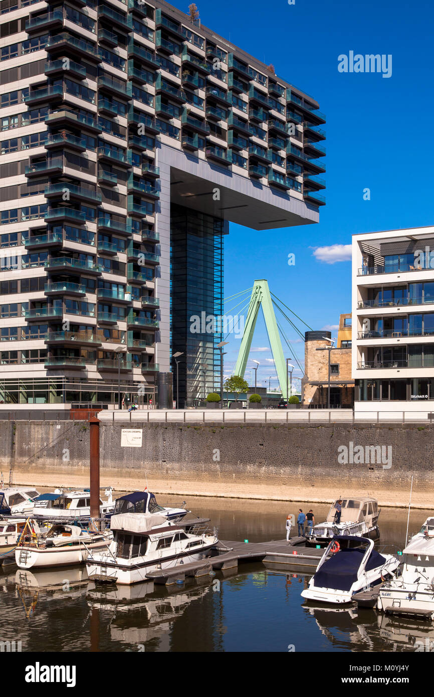 Germany, Cologne,  Crane House North at the Rheinau harbour, the Crane House North accomodates 133 luxury apartments - Stock Image