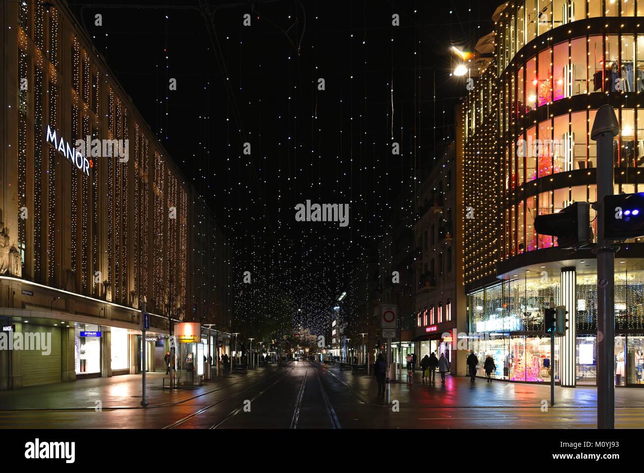 Zurich Lucy Christmas lights,Zurich,Bahnhofstrasse,Canton Zurich,Switzerland - Stock Image