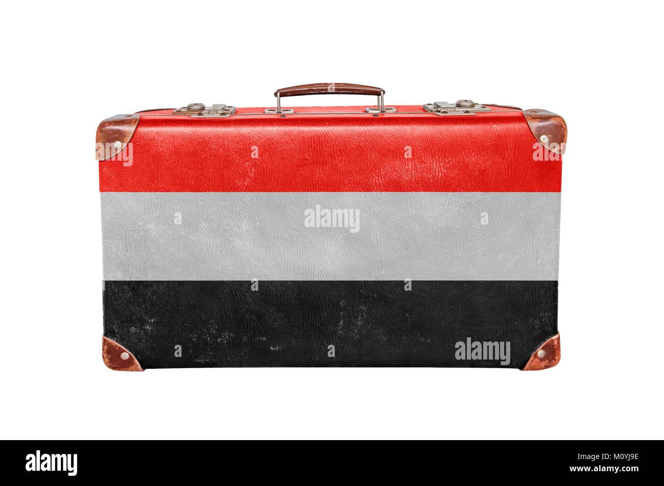 Vintage suitcase with Yemen flag - Stock Image