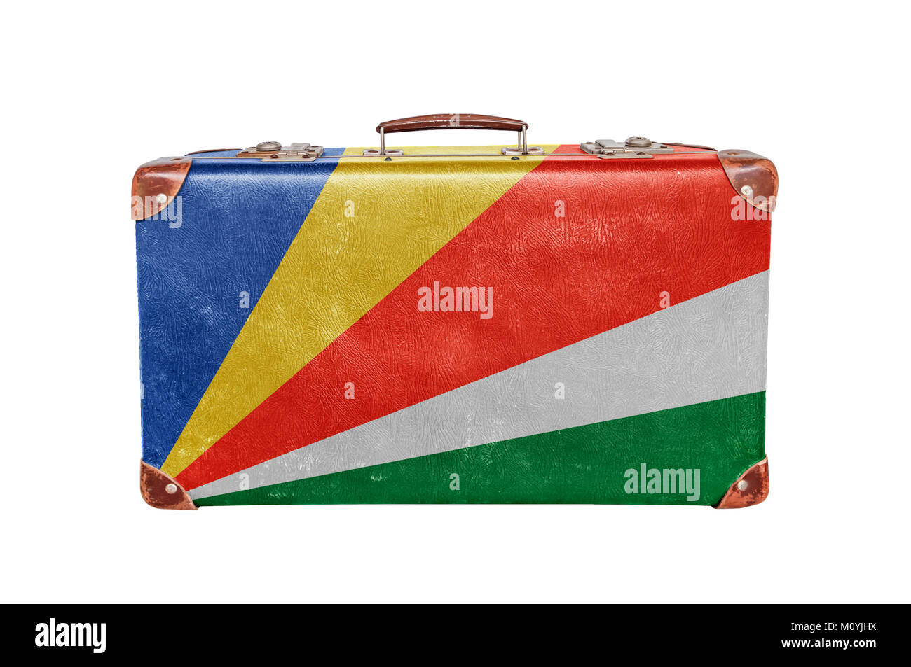 Vintage suitcase with Seychelles flag - Stock Image