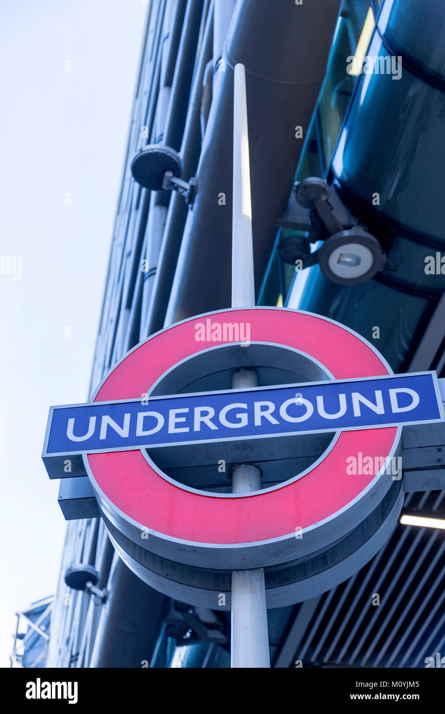 Tube sign in the City of London - Stock Image