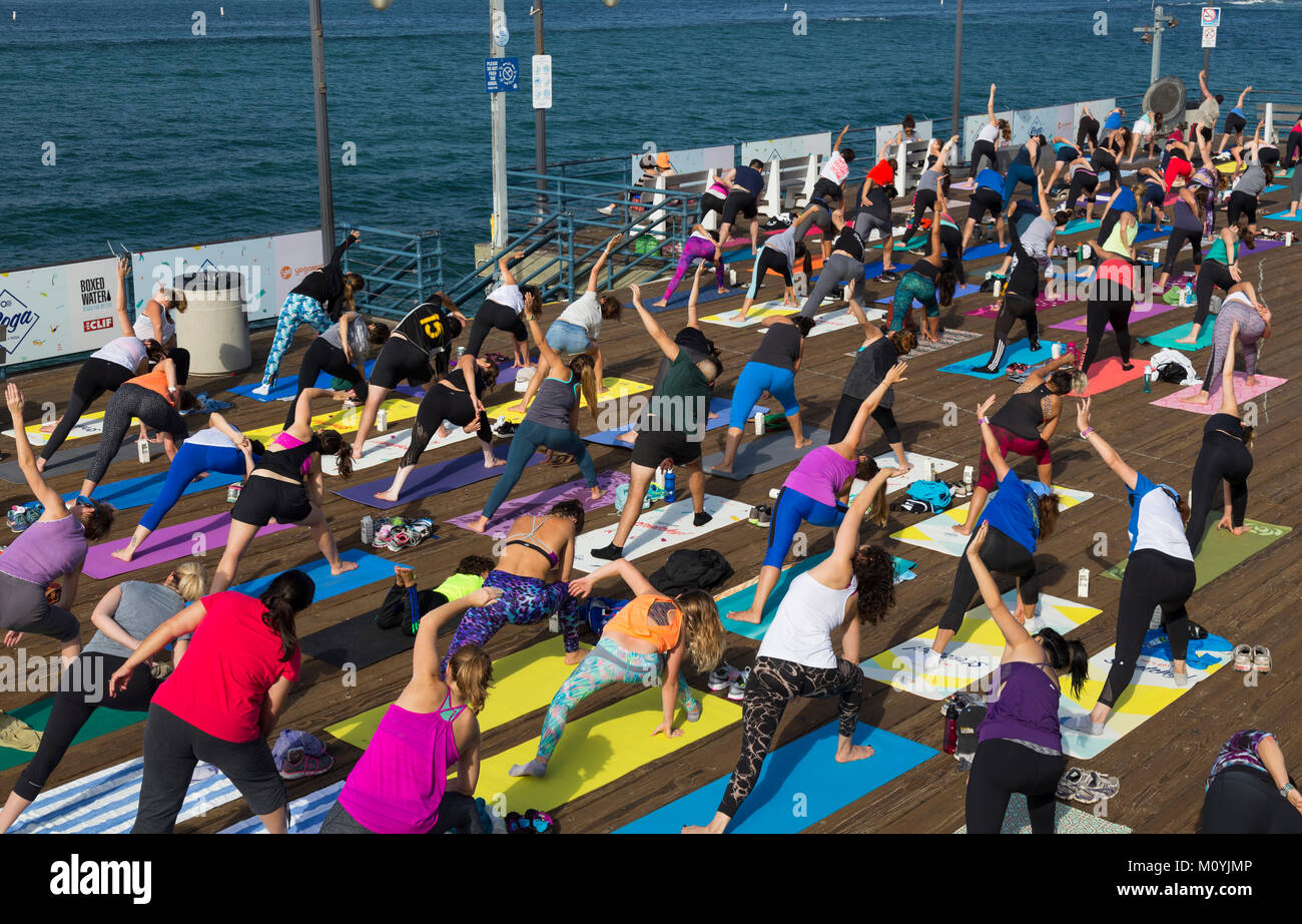 Work Out The Santa Monica Pier, California, United States - Stock Image