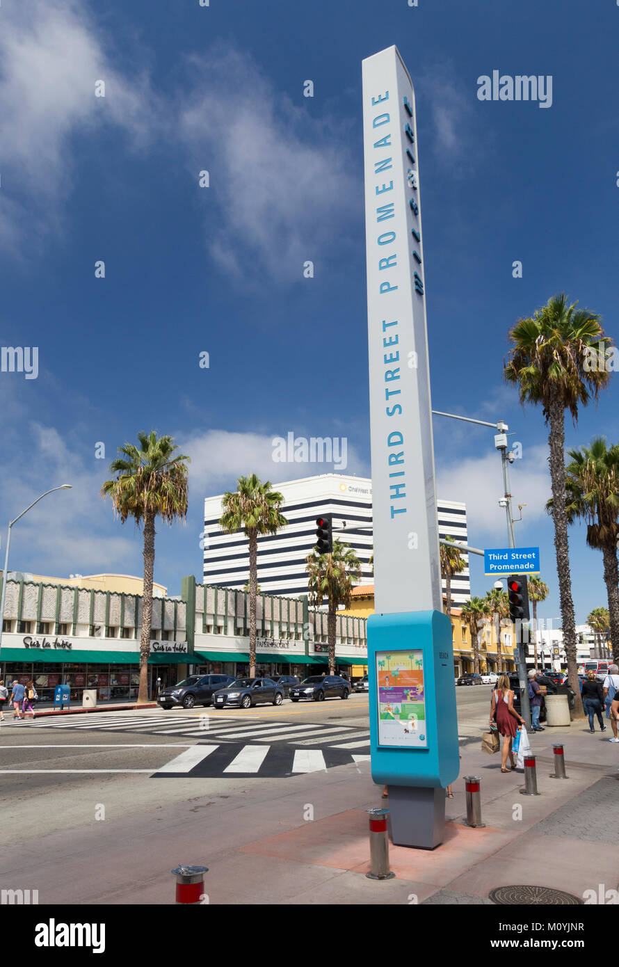 Street sign at the junction of 3rd Street Promenade and Wilshire Blvd, Santa Monica, California, United States - Stock Image