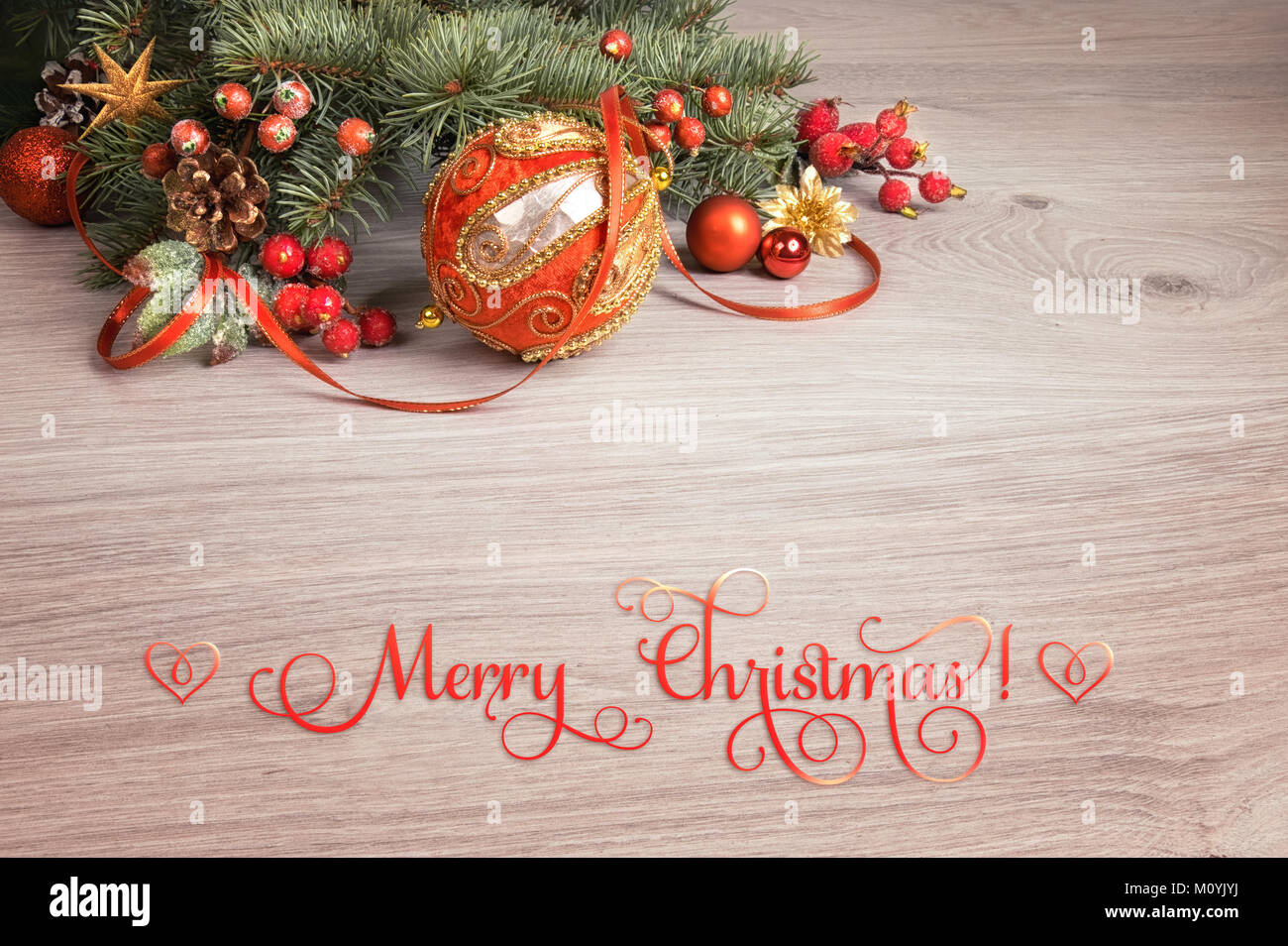 Wooden Background With Decorated Christmas Tree Twigs In One Corner