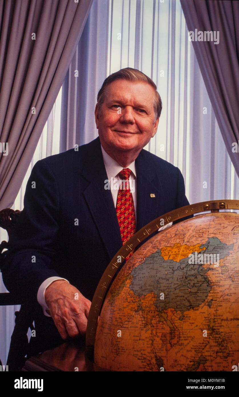 Paul S. Amos - in his AFLAC office. AFLAC was founded by brothers John, Paul (died 2014), and William Amos in Columbus, - Stock Image