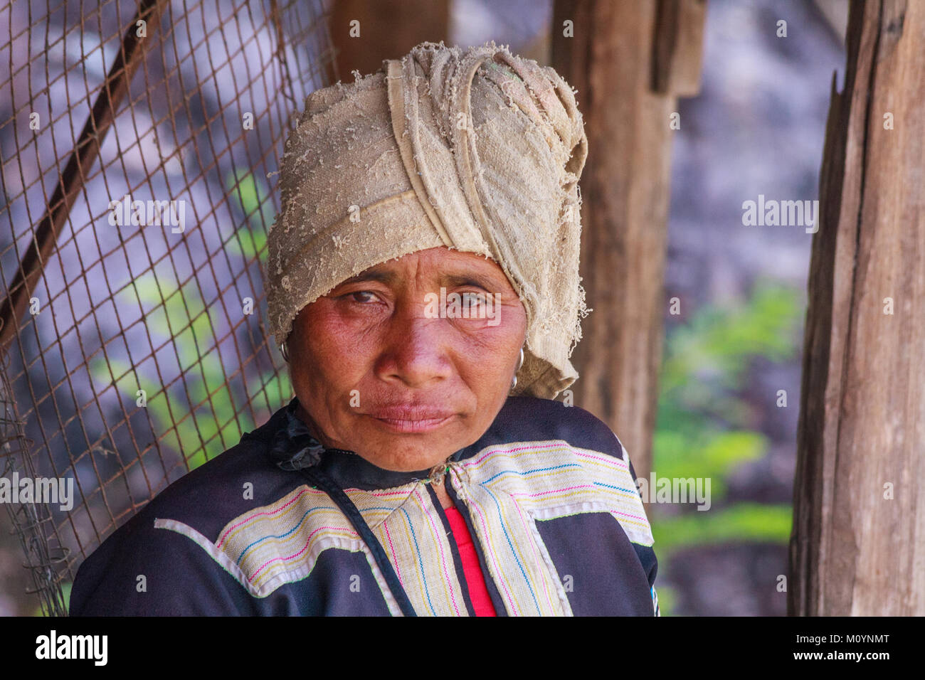 Portrait of Lahu hilltribe woman, Tak Province, Thailand - Stock Image