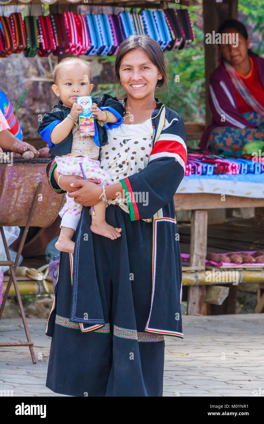 Hmong hilltribe woman and baby, Tak Province, Thailand - Stock Image