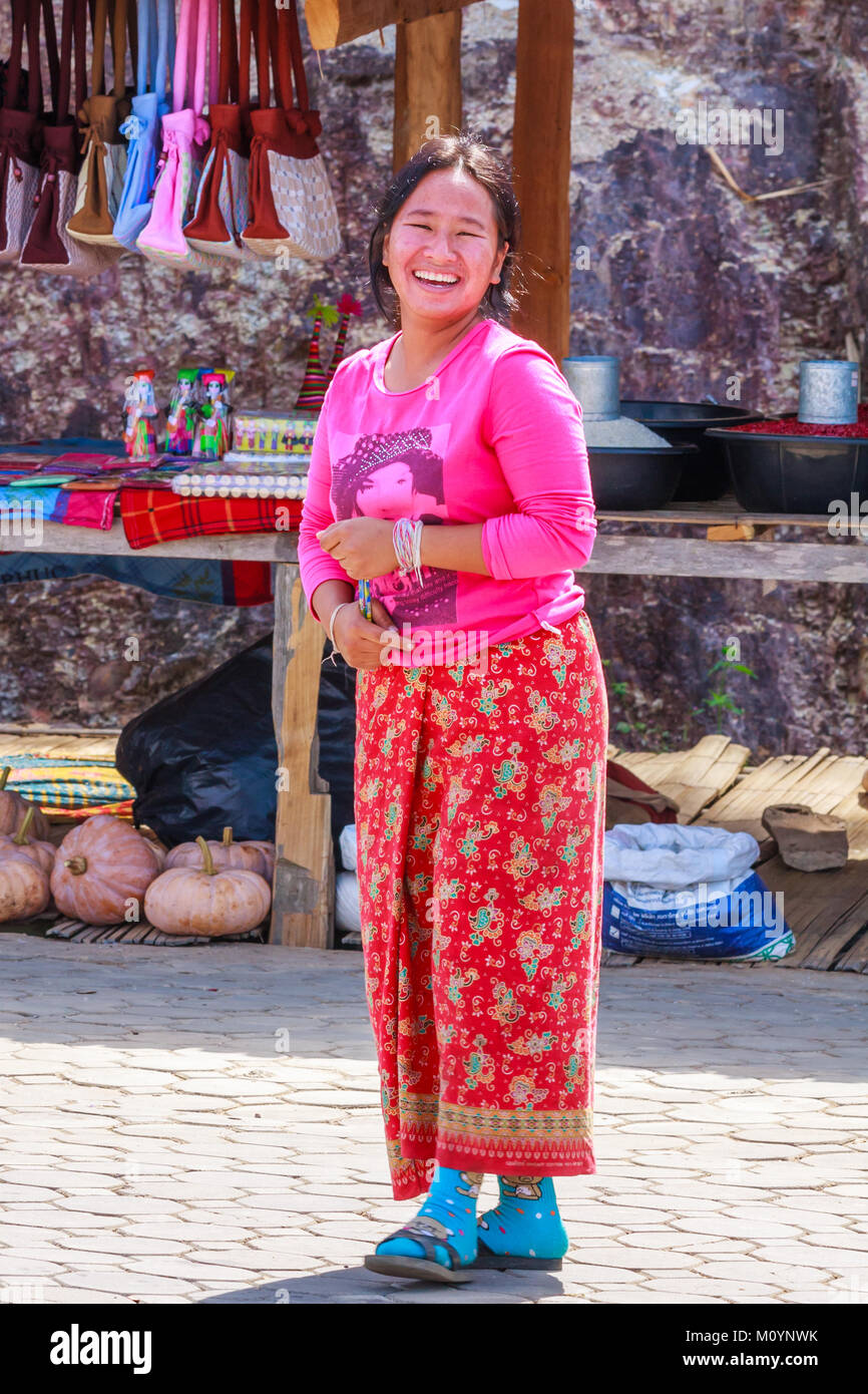 Hmong hilltribe woman, Tak Province, Thailand - Stock Image