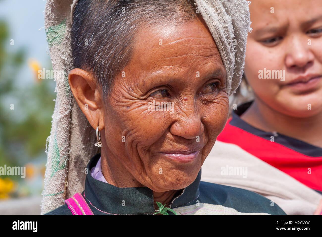 Lahu hilltribe woman, Tak Province, Thailand - Stock Image
