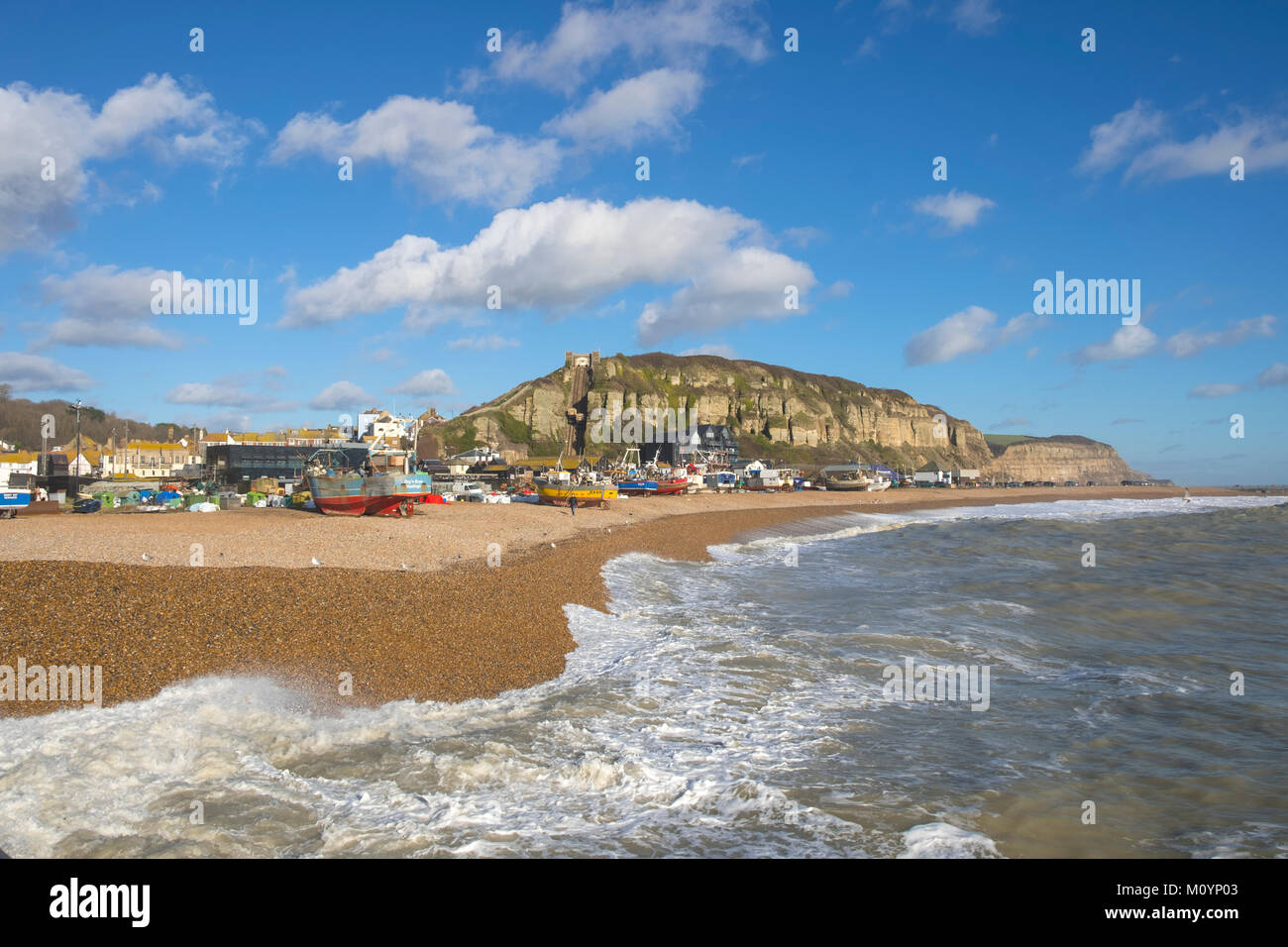 Hastings Fishing Boats on the Old Town Stade Fishermen's Beach, Rock-a-Nore, East Sussex, UK - Stock Image