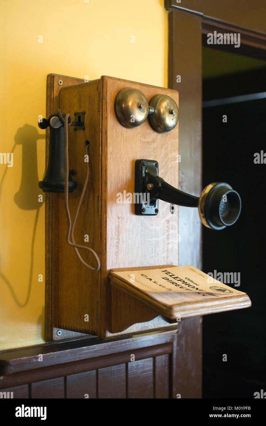 Antique telephone in Heritage Park Historical Village - Stock Image