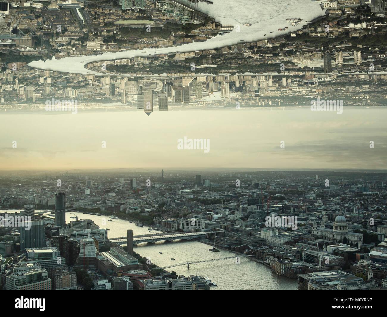 Sci-fi futuristic fantasy image of upside down city landscape Stock Photo