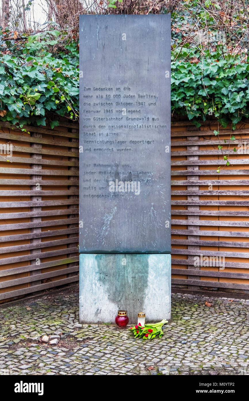 Berlin-Grunewald station. Memorial deportation of 50 000 Jews to extermination camps from 1941 to 1945 - Stock Image