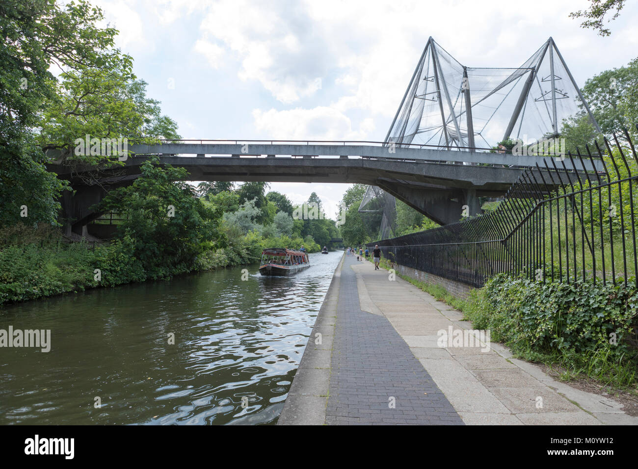 Regents canal and towpath and London Zoo. Stock Photo