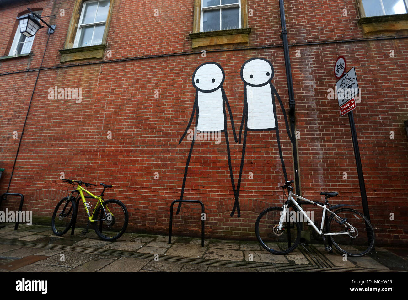 Graffiti pictured on buildings in Chichester, West Sussex, UK. - Stock Image
