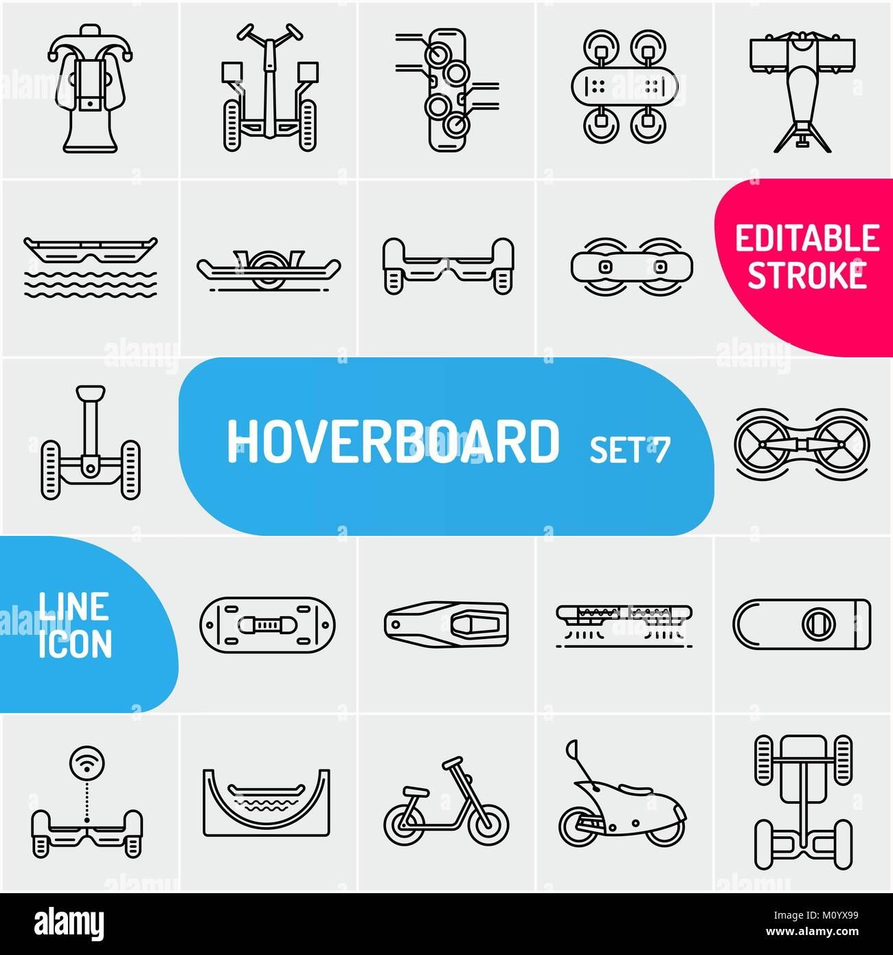 Modern thin line self-balancing electric scooters icons set. Premium quality outline hoverboard symbol collection. - Stock Image