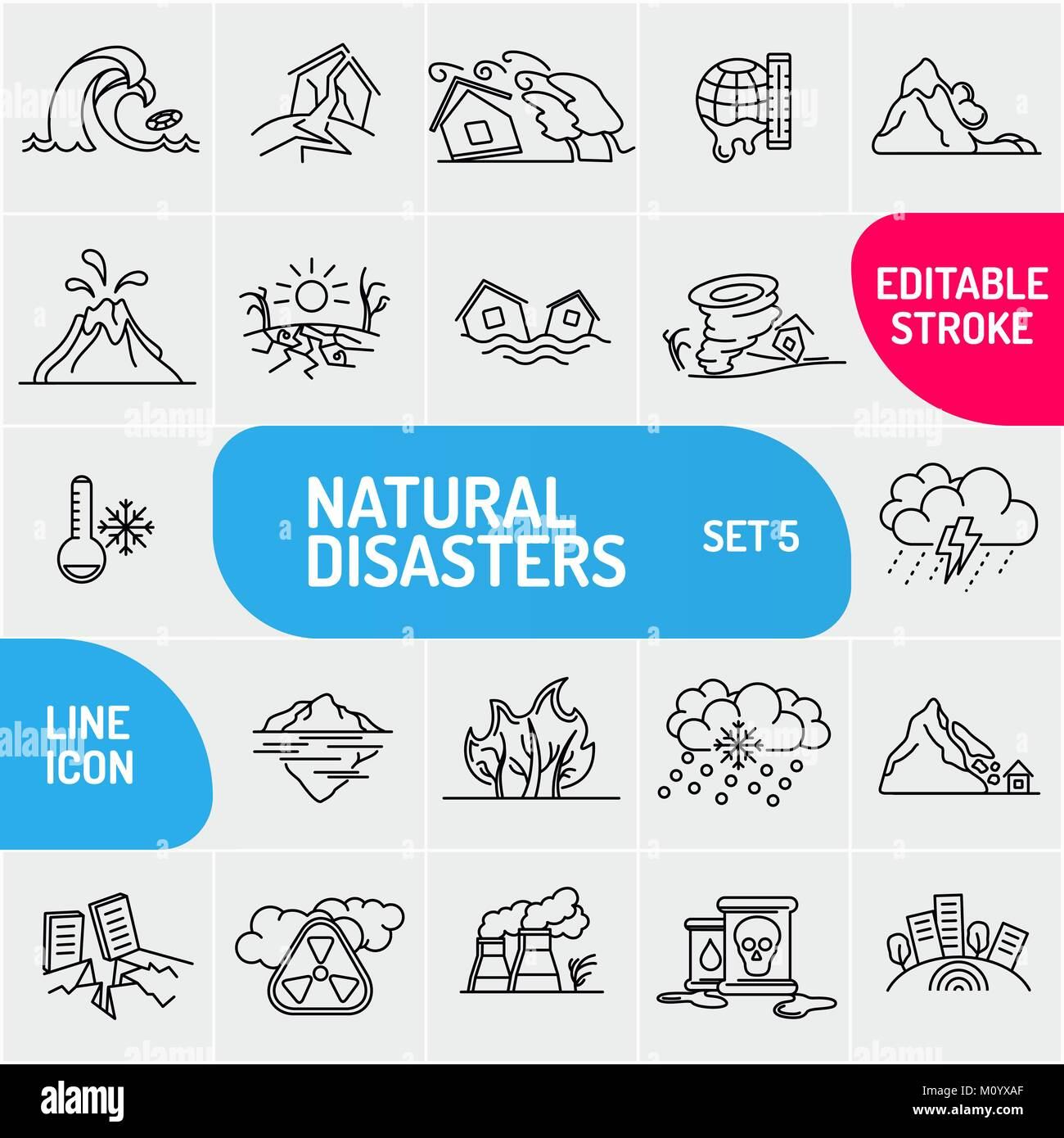 Modern thin line Natural disaster icons set. Premium quality outline symbol collection. Simple mono linear pictogram - Stock Image