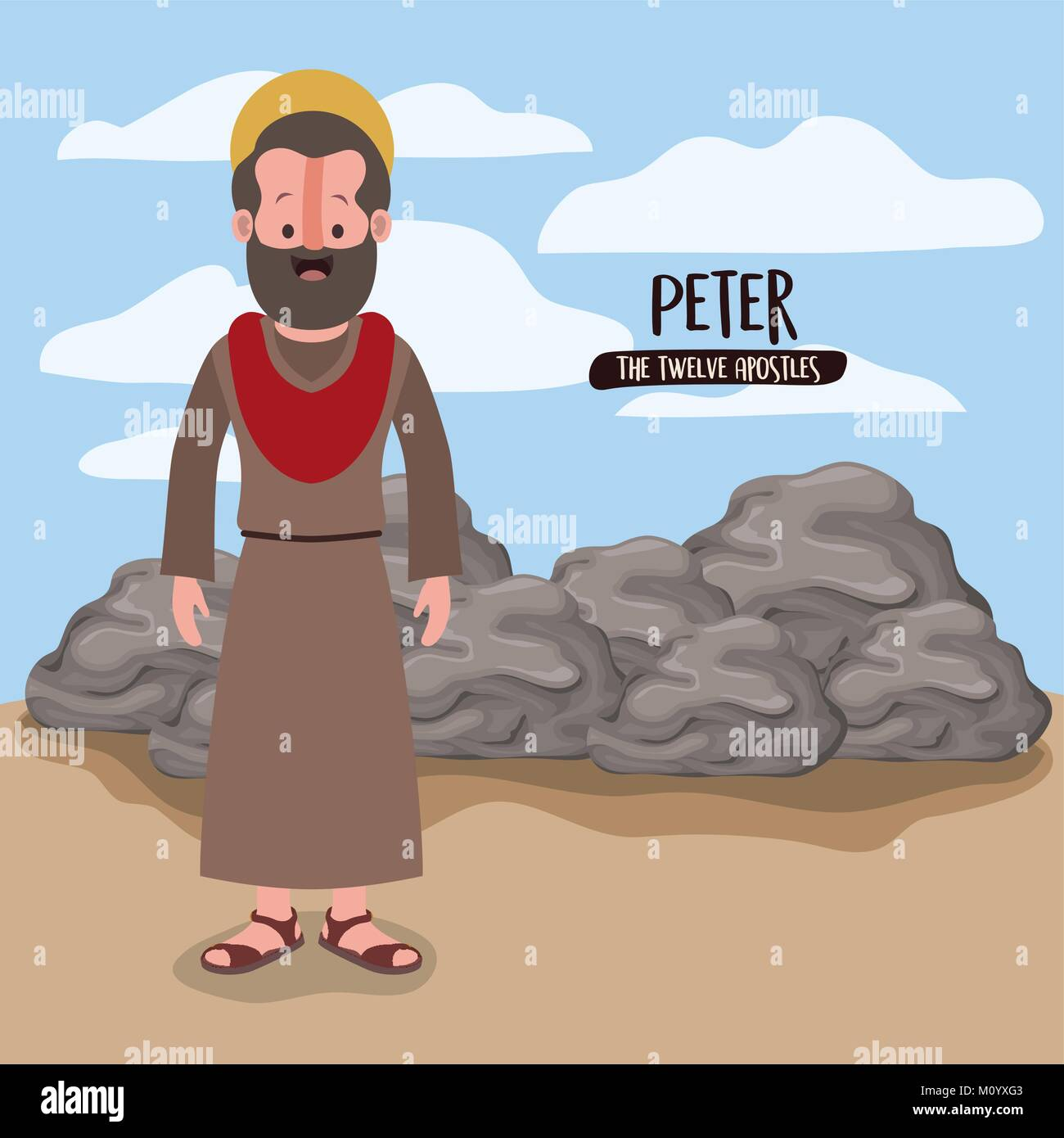 The Twelve Apostles Poster With Peter In Scene Desert Next To Rocks Colorful