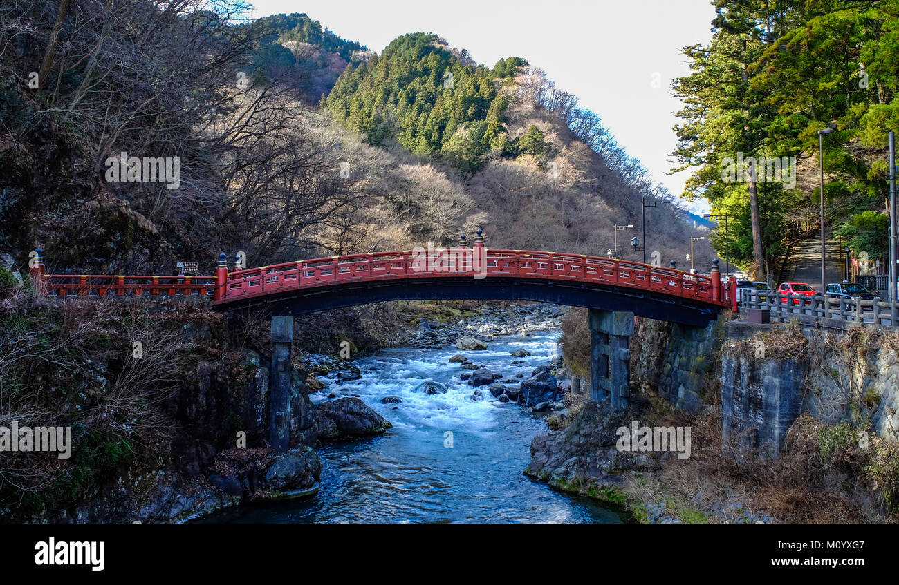 Sacred Bridge Shinkyo in Nikko, Japan. Nikko and Lake Chuzenji are well known for their beautiful autumn colors - Stock Image