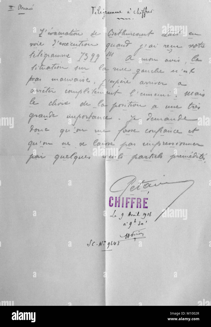 Copy of a telegram to be coded sent by Maréchal Pétain during WW1 (1916), encouraging forces on the left - Stock Image