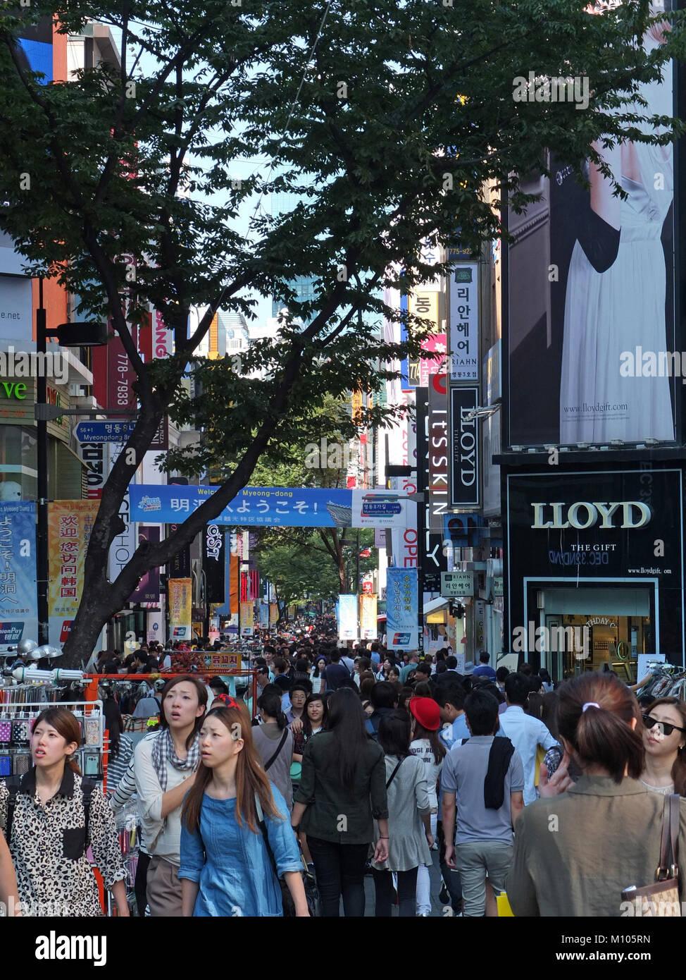 Seoul, Republic Of Korea. 23rd Sep, 2012. South Korea: shopping street in Myeongdong (center of Seoul) | usage worldwide - Stock Image