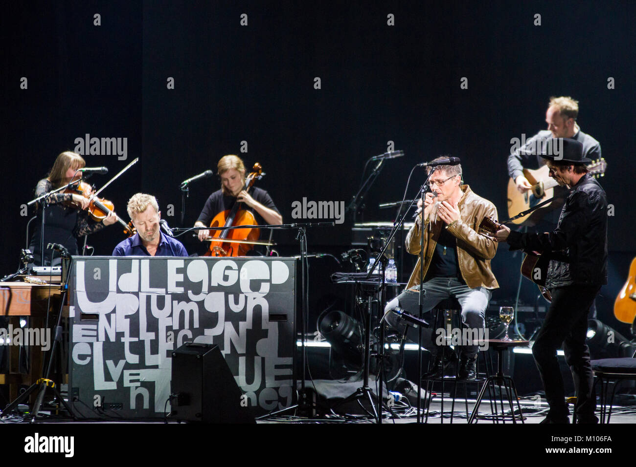 Frankfurt/Main, Germany. 24th Jan, 2018. A-ha, MTV unplugged Tour 2018, concert at Festhalle Frankfurt. Norwegian - Stock Image