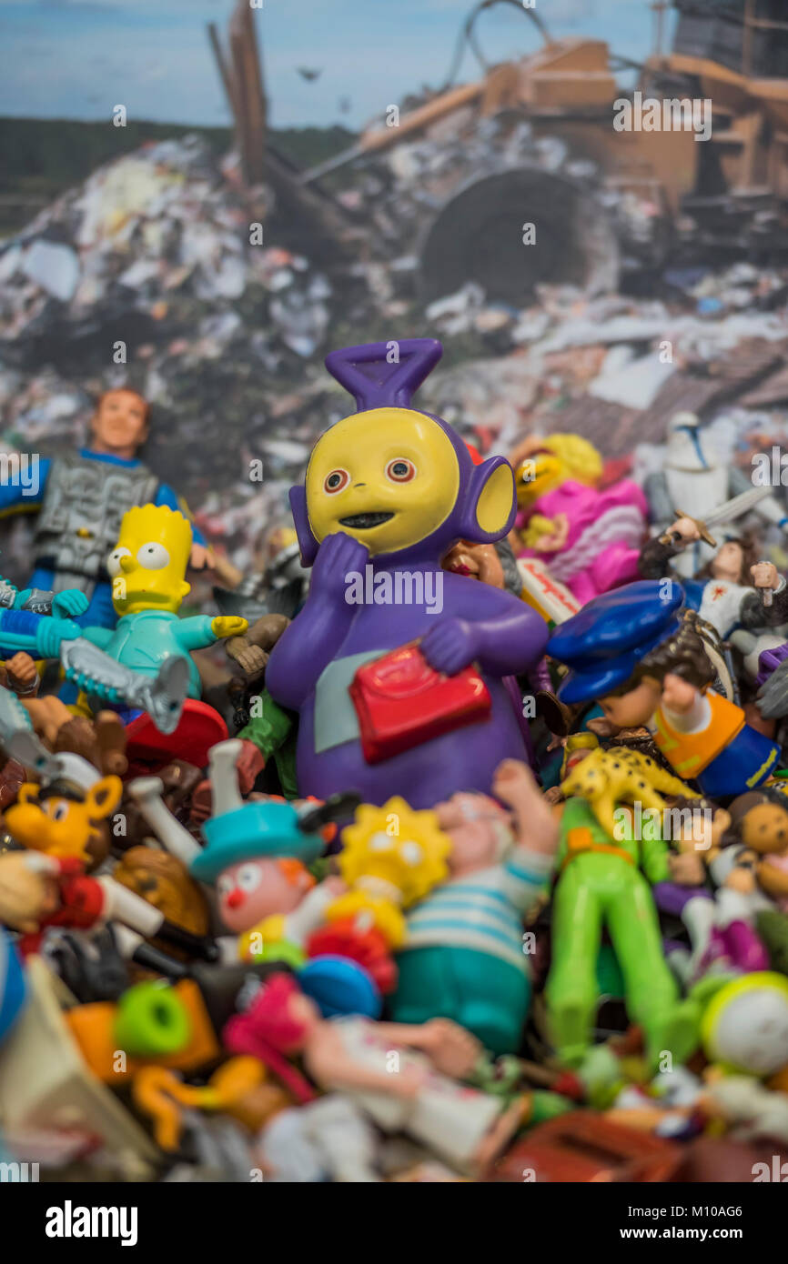 London, UK. 25th Jan, 2018. Toys, including a Tinky Winkie Teletubby, saved from landfill by The Toy Project Charity, - Stock Image