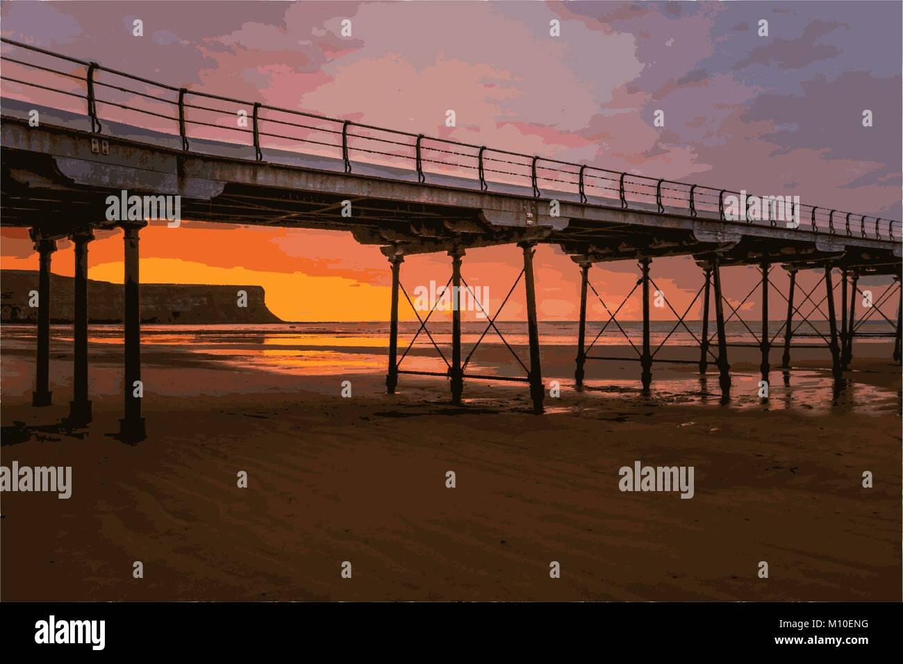 Bridge over beach with sunset - Stock Vector
