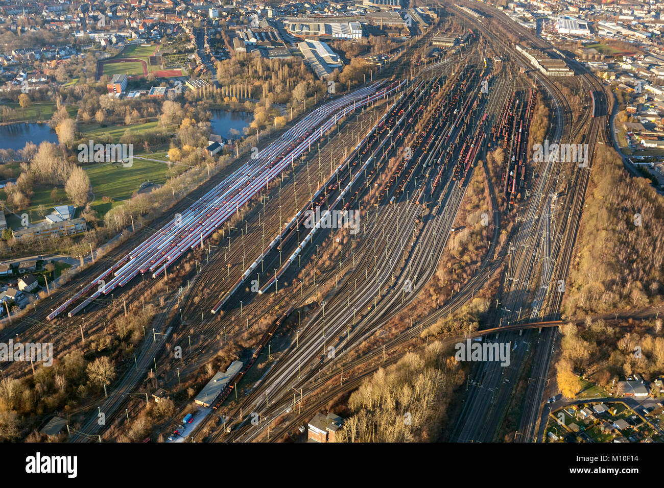 Aerial view, Hamm freight yard, railway tracks, railway yard, waggons, Hamm, Ruhr area, North Rhine-Westphalia, - Stock Image