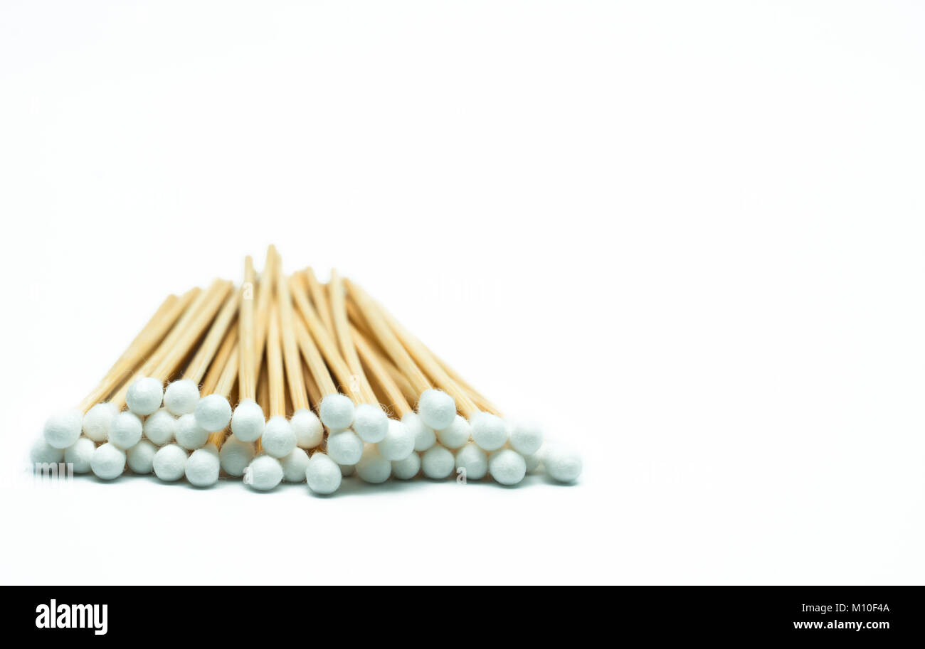 Cotton sticks isolated on white background with copy space Stock Photo