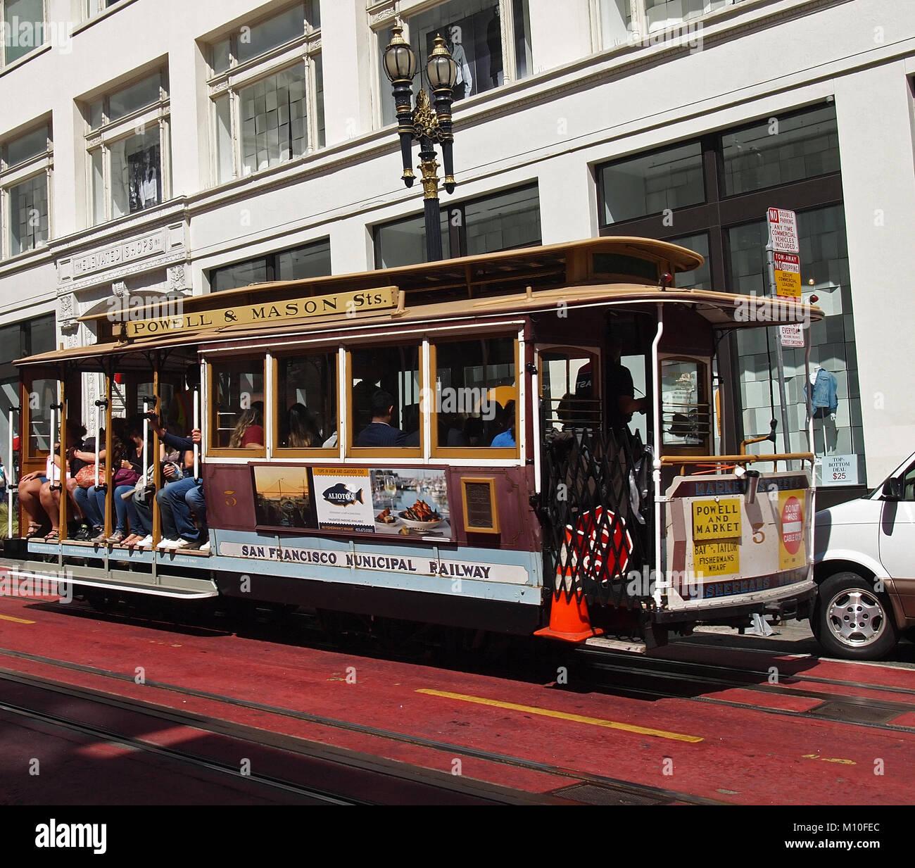 Cable Car On Powell Street Stock Photos & Cable Car On