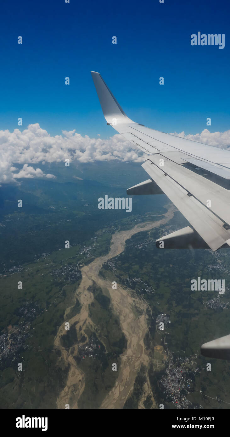aerial view from air plane with wing - Stock Image