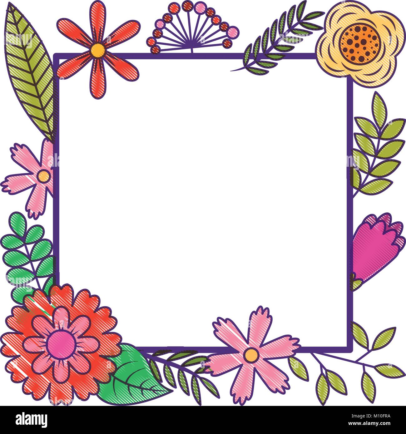 Frame From Wild Flowers Greeting Card Template Design Stock