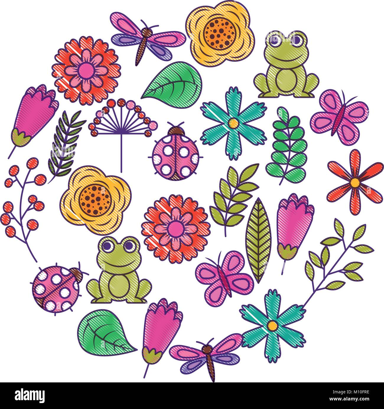 set of spring theme nature flowers love birds butterflies ladybugs frog dragonfly Stock Vector