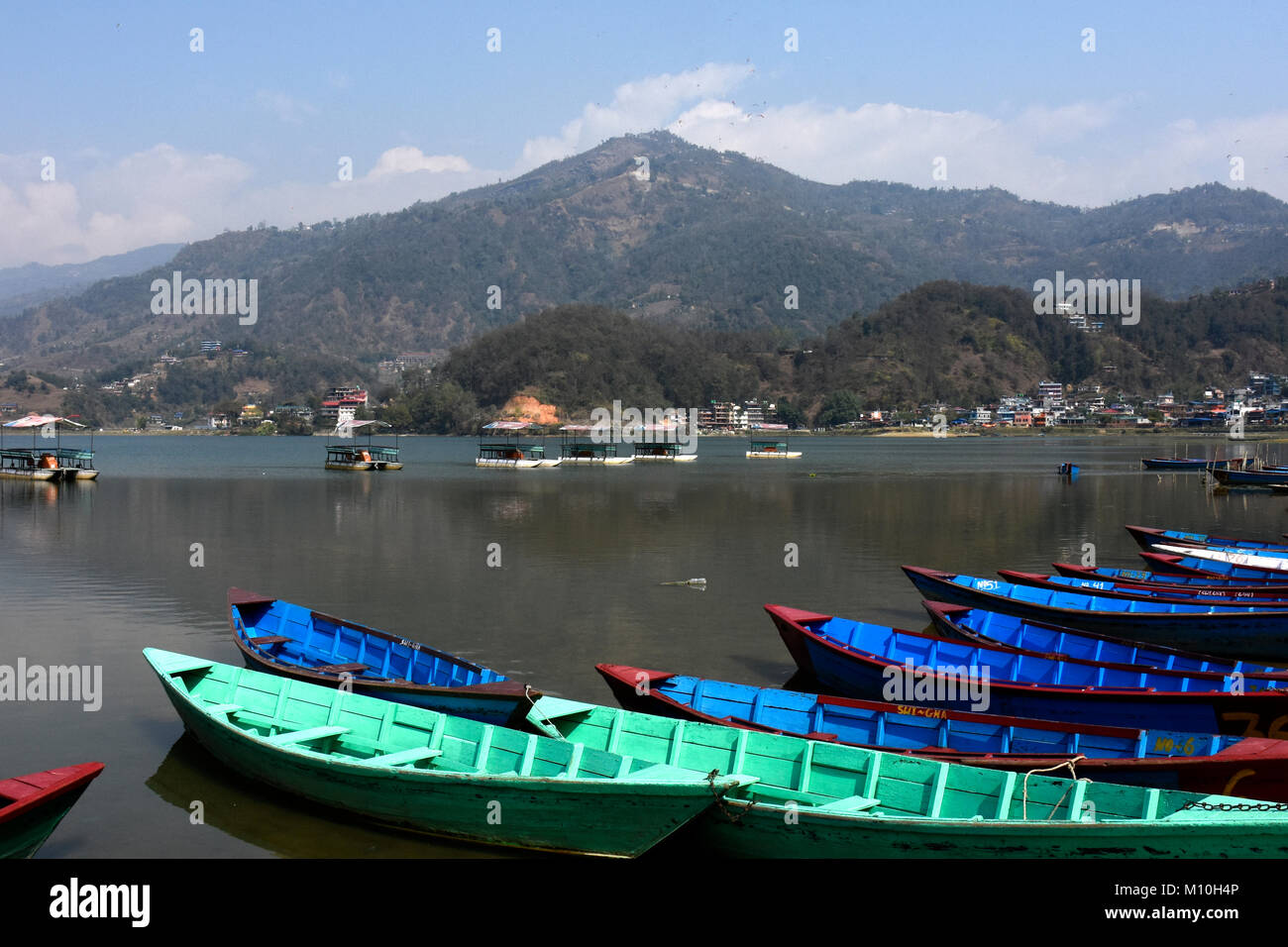 Boats on the Lake at Lakeside Lake Pewa, Pokhara, Nepal - Stock Image