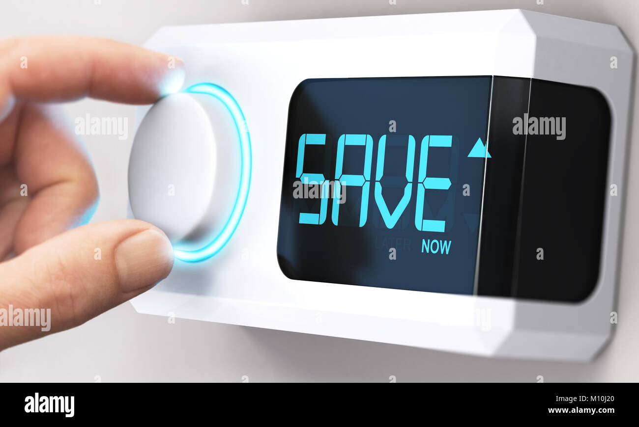 Hand turning a thermostat knob to increase savings by decreasing energy consumption. Composite image between a hand - Stock Image